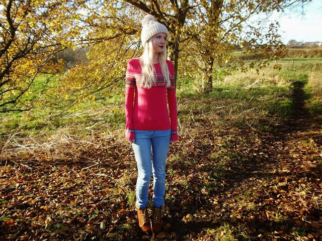 Pink Aztec Jumper, Bobble Hat #autumn #fashion #ootd #outfit #style