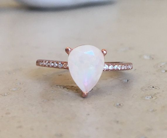 9x7mm Opal Ring Promise Ring Pear Shape Ring Gemstone by Belesas