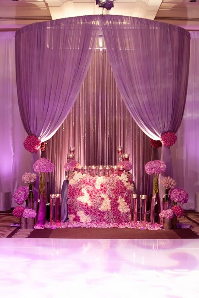 wedding stage decoration pics%0A Sweet heart table  RadiantOrchid   Andrena Photography    Event Design   Square Root Designs  Purple TableWedding StageWedding