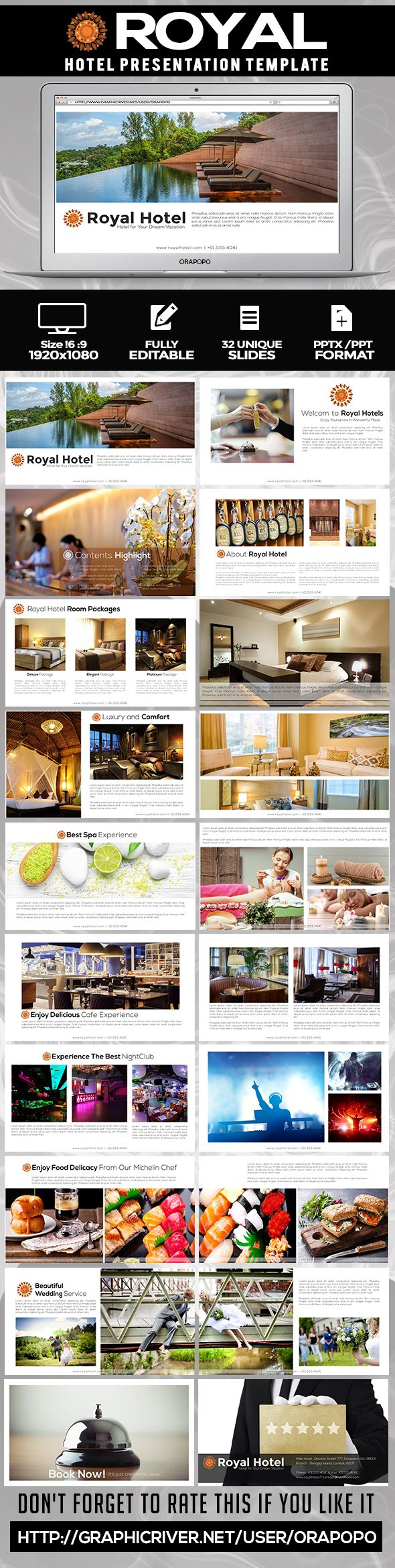 Royal ~ Hotel PowerPoint Presentation Template. Download here: http://graphicriver.net/item/royal-hotel-presentation-template/15073168?ref=ksioks