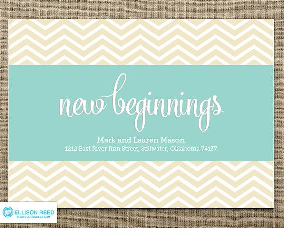 moving announcement - moving card - change of address card - new home - printable - married - new beginnings - chevron announcement - mint
