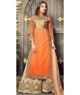 Heartily Orange Georgette Salwar Suit With Dupatta.