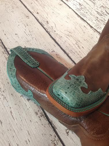 "Anderson Bean ""Rosalie"" brown and turquoise cowboy boots."