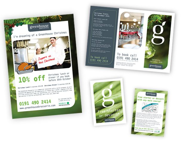 Marketing Literature for Green House Brasserie at Gateshead College, designed by Perro