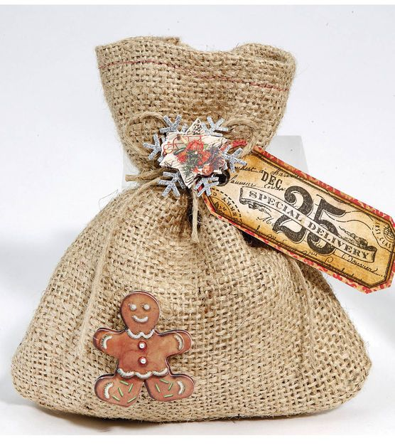 Wrap holiday treats in this adorable burlap and gingerbread man treat bag!