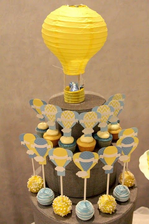 Rachel J Special Events: Up, Up and away...Baby Shower. Hot air balloon cake pops and mini cup cakes with hot air balloon toppers.