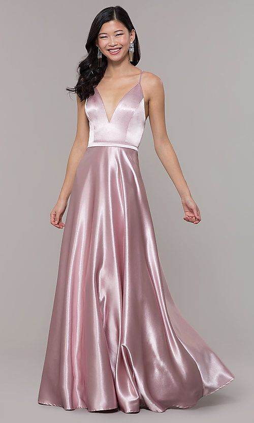 c92726439deb Long Satin V-Neck Prom Dress by Simply | praaam | Prom dresses, V ...