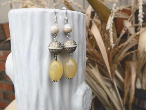 Beaded Earrings - yellow and ivory  All proceeds go to safe homes against human trafficking in the Dominican Republic.