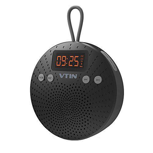 VTIN Haut-Parleur Bluetooth Etanche avec Radio FM et Réveil Enceinte Bluetooth sans fil Waterproof Speaker de Douche Plage Piscine pour…