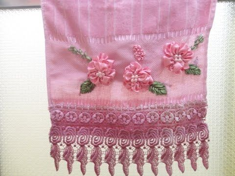 Flores Bordadas com Fitas de Cetim- Embroidered with satin ribbons - YouTube