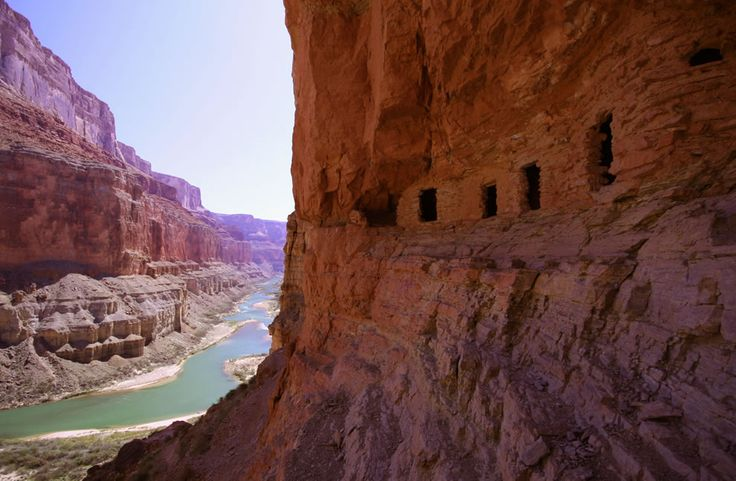 Ancestral Puebloan granaries high above the Colorado River at Nankoweap Creek, Grand Canyon. Photo #2 by Drenaline