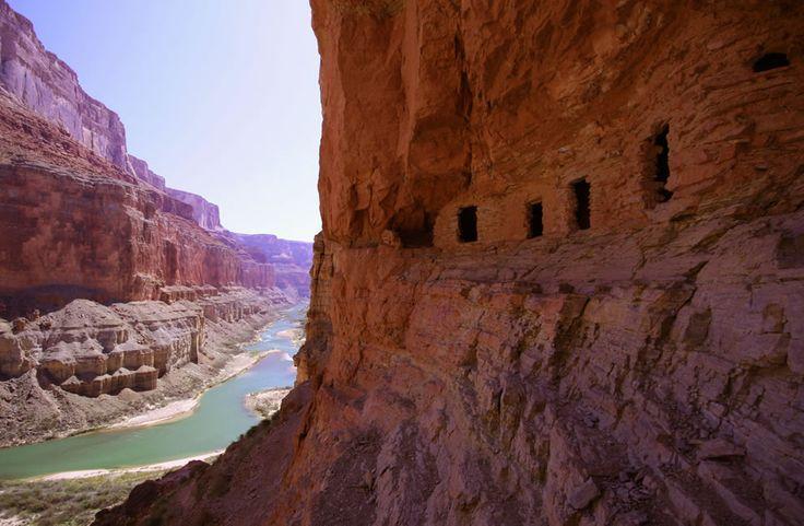 Ancestral Puebloan granaries high above the Colorado River at Nankoweap Creek, Grand Canyon. Photo #2 by Drenaline