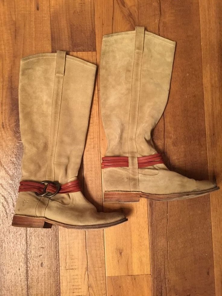 frye beige leather knee high boots s sz 6 in