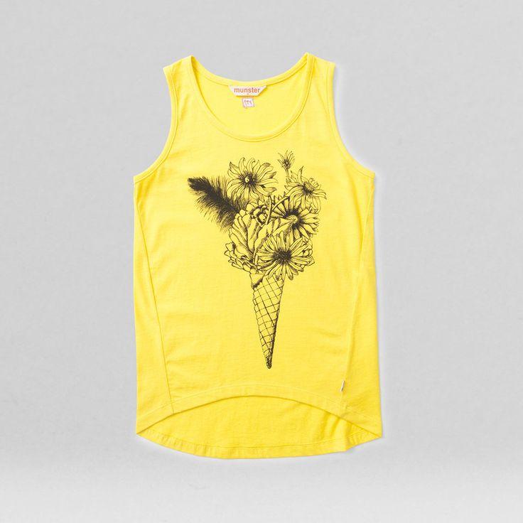 flower cream singlet yellow