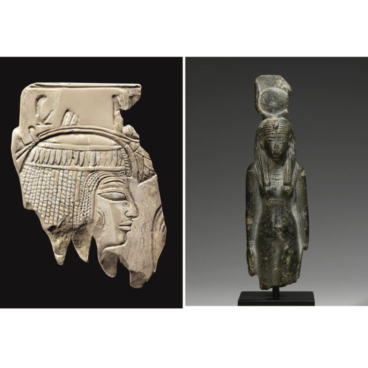AN EGYPTIAN LIMESTONE RELIEF FRAGMENT AND A SCHIST FIGURE OF HATHOR, 19TH/24TH DYNASTY, 1292-716 B.C.