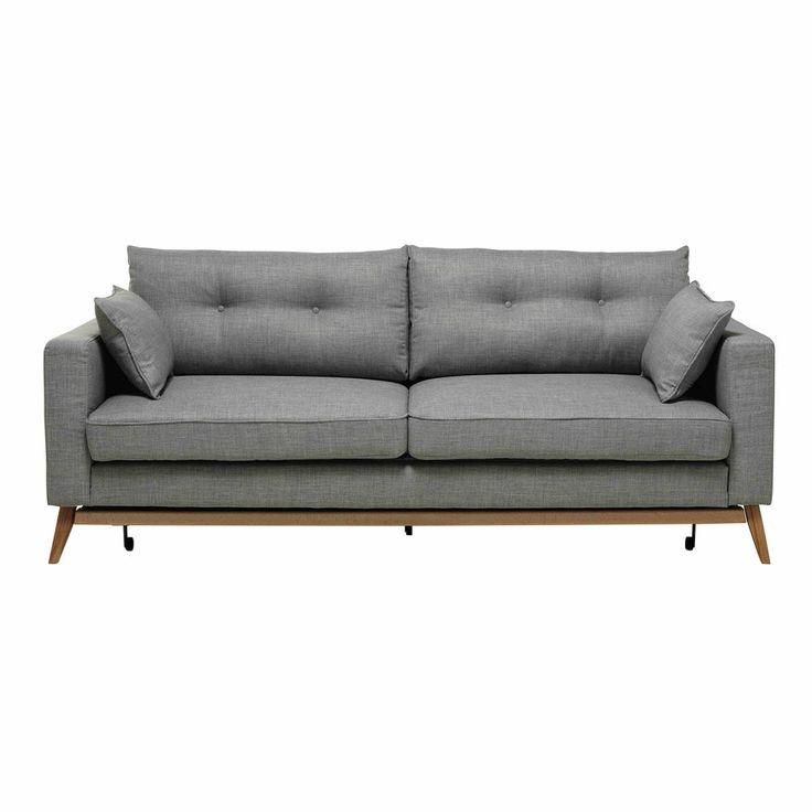 Brooke Ausziehbares Sofa 3-sitzig aus Stoff, hellgrau maisonsdumonde.com
