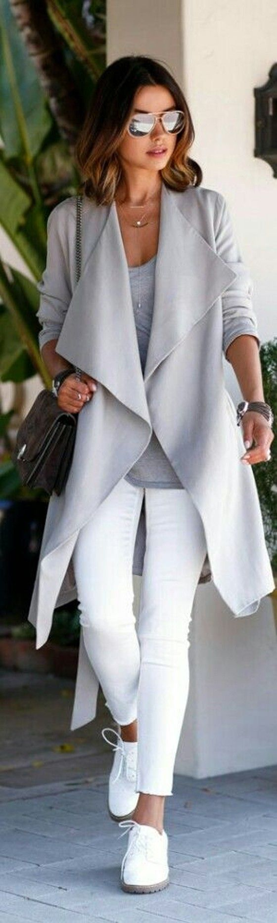 Grey Plain Belt Pockets Turndown Collar Long Sleeve Trench Coat - Outerwears - Tops