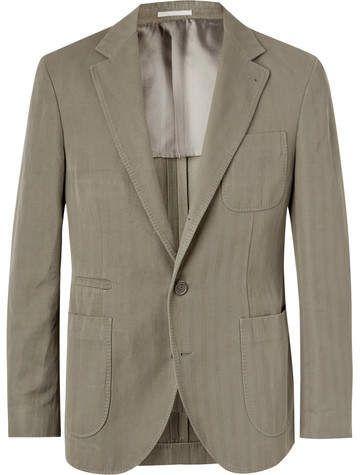 Brunello Cucinelli Slim-Fit Herringbone Cotton And Linen-Blend Suit Jacket