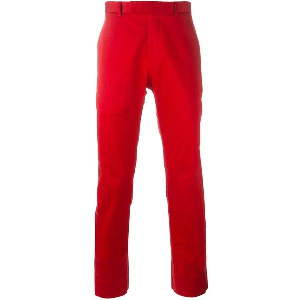 Dior Homme classic chinos ($403) ❤ liked on Polyvore featuring men's fashion, men's clothing, men's pants, men's casual pants, red, mens red pants, mens chinos pants, mens chino pants and mens red chino pants