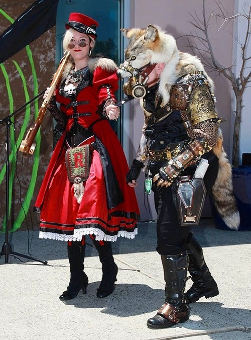 Steampunk red riding hood and big bad wolf