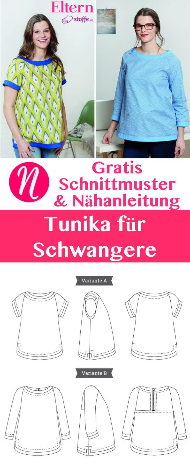 Kostenloses Schnittmuster für eine Schwangerschafts-Tunika. Mit Anleitung, PDF zum Drucken. Gr. XS - XL - Nähtalente - Magazin für kostenlose Schnittmuster.