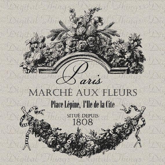 French Paris Flower Market Script Printable Print Digital