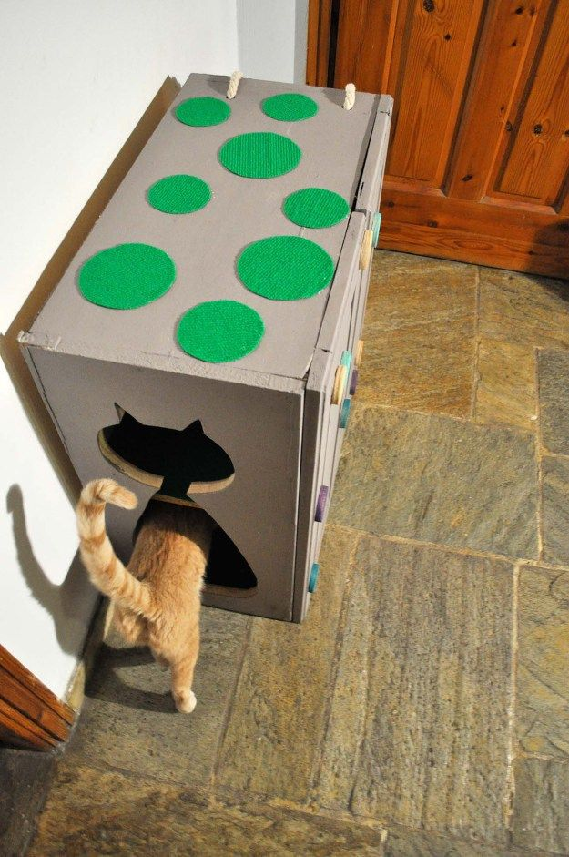 #DIY cat house from an old kitchen cabinet