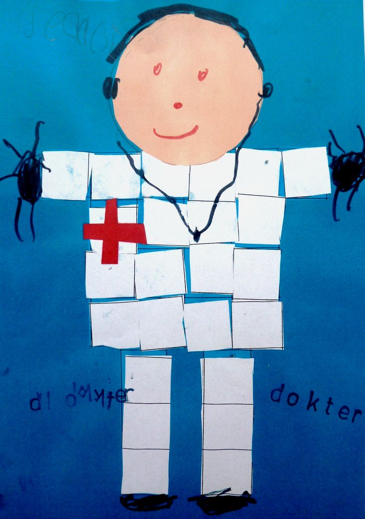 Gezondheid - Dokter knippen en plakken. Vierkantjes meten en tellen.