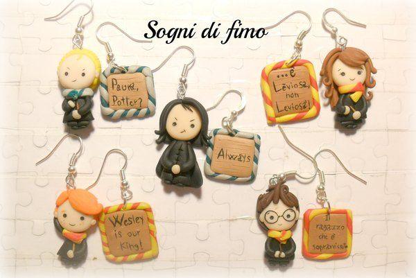 orecchini con personaggi di harry potter in fimo earrings characters harry potter handmade with FIMO! by  by ~SogniDiFimoCReazioni  on DeviantARt