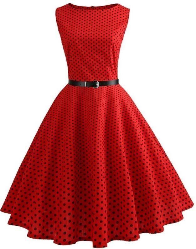 Women/'s Polka Dot Dress Sleeveless Swing Skater Skirt Red Casual Dress Beach