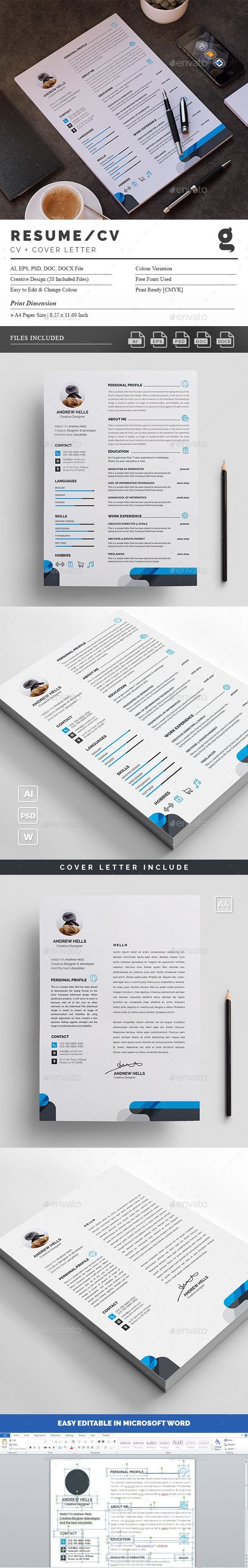 Clean Resume Download%0A Buy Resume by GenerousArtist on GraphicRiver  Features of Resume Template  size     mm bleed MS Word  docx doc file added Fully Editable in DOCX  DO