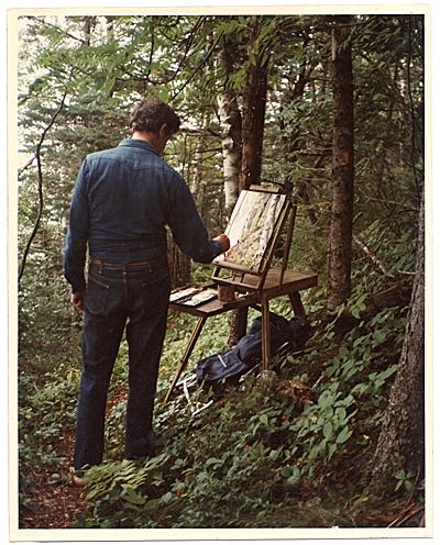 Citation: Fairfield Porter painting in the woods in Maine, August 1975 / unidentified photographer. Fairfield Porter papers, Archives of American Art, Smithsonian Institution.