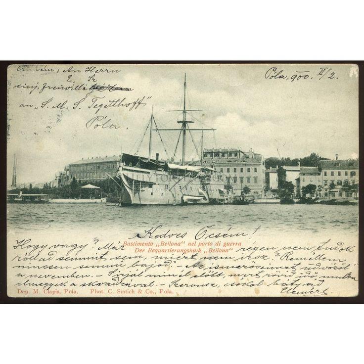 1900. Osztrák-Magyar Haditengerészet, Pola , régi szép képeslap, az S.M.S. Tegetthoff hadihajóról Egerbe küldve