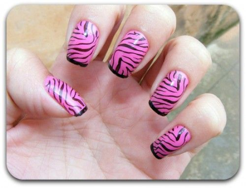 Unhas decoradas animal print zebra rosa