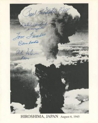 """At 2:30 a.m. on August 6, 1945, the Enola Gay left Tinian Island, the forward American airbase in the Marianas, for Special Bombing Mission No. 13. In the bomb bay was """"Little Boy,"""" the name given to the first atomic bomb to used in warfare. At 8:16 a.m., """"Little Boy"""" was dropped on Hiroshima, Japan. The bomb caused massive destruction and sped the end of World War II. When the bomb detonated, about 1,900 feet above the city, Nelson sent a coded message that was forwarded to President…"""