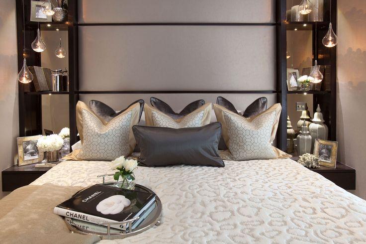 Bespoke headboard with shelving in Master Bedroom  | JHR Interiors