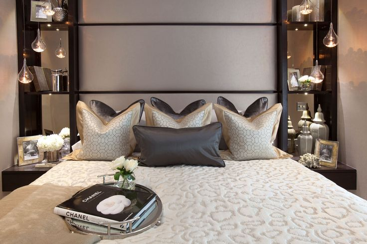 Bespoke headboard with shelving in Master Bedroom  | JHR Interiors