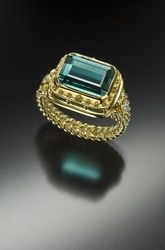 6.05 Ct Indicolite Tourmaline Ring in 18 Karat and 22 Karat Gold - Available Gallery - Paul Farmer      Goldsmith