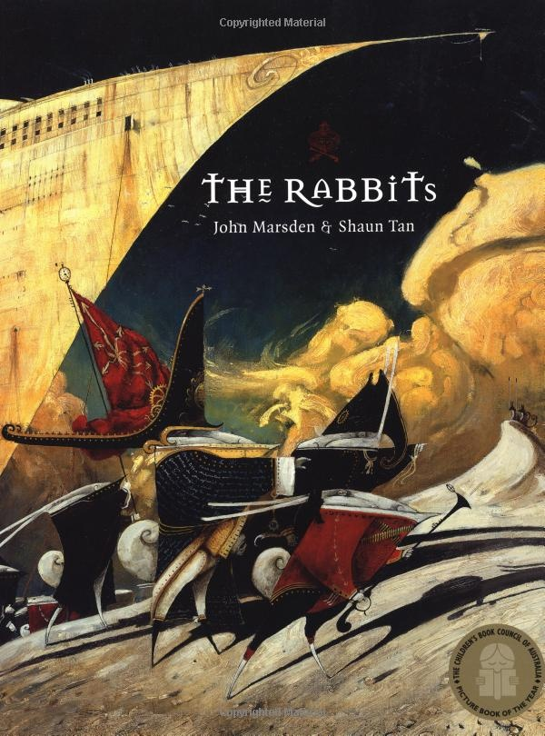 The Rabbits by Shaun Tan - amazing illustrations & cool story http://www.amazon.co.uk/The-Rabbits-Shaun-Tan/dp/0734411367/?ref=pd_sim_b_7