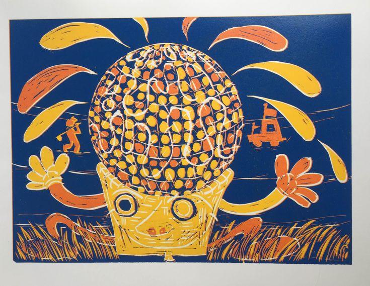 Lars Holbroe – Psykedelisk Golfbold. Linoleumstryk i tre farver, 60 x 38,5 cm. Oplag: 14. Pris: 1.400 kr.