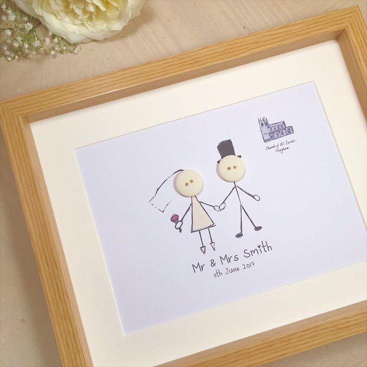 A Lovely Personalised Gift For The Special Couple To Suit You I Can Draw Their Wedding Venue Too Light Oak Effect Frame Included Size 25
