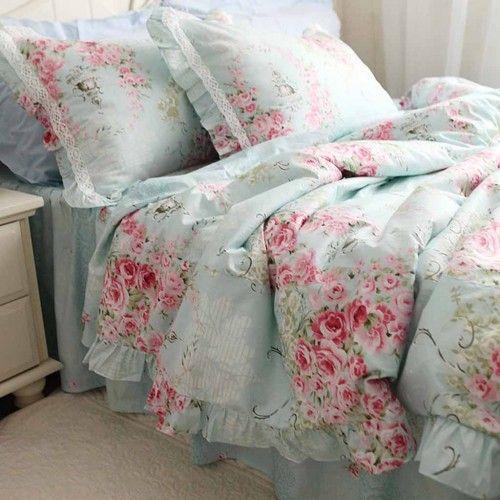 blue comforter | Victorian Blue Rose Bedding