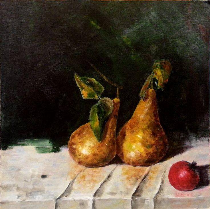 Pears canvas 40x40cm