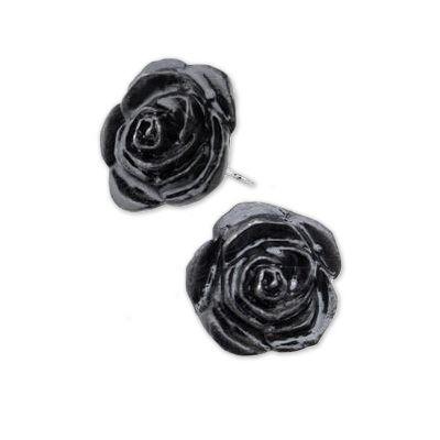 Black Rose, zwarte rozen stud oorbellen - Gothic - per paar