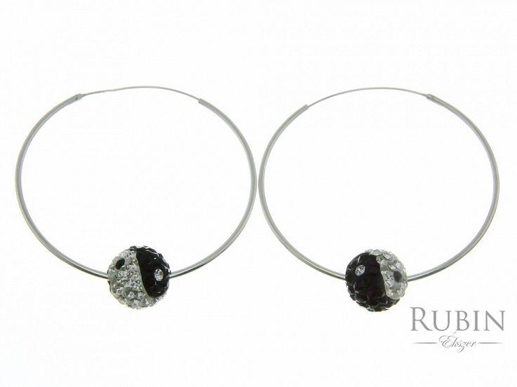 Fekete fehér Swarovski kristályos Jin-jang motívumos karika fülbevaló