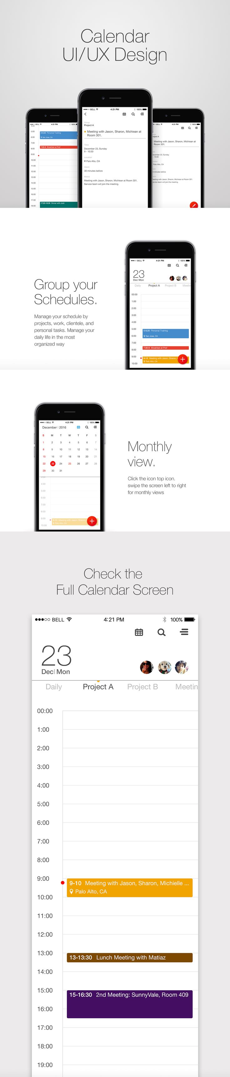 Calendar/schedule UI design  -by. Hannah Lee