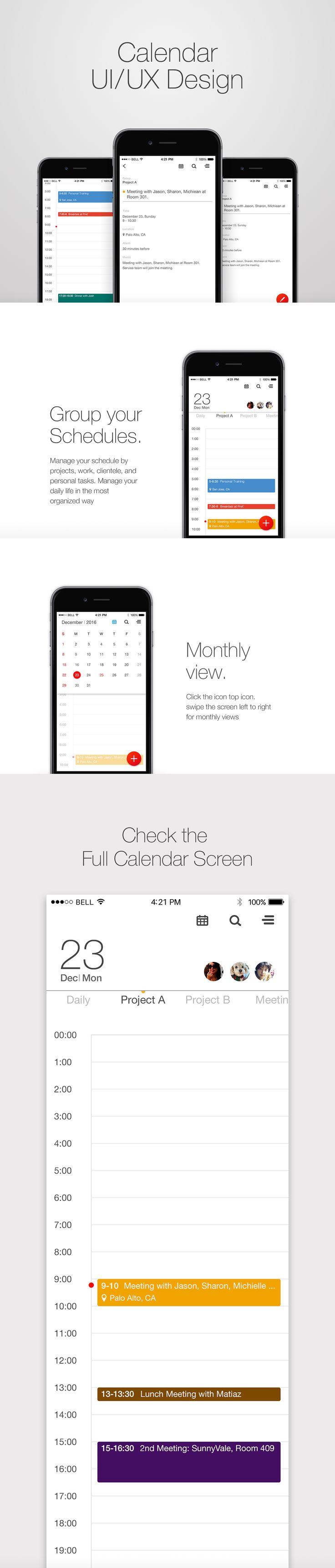 Calendar/schedule UI design  -by. Hannah Lee