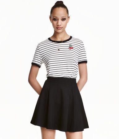 T-Shirt aus Jersey | Weiß/Gestreift | Damen | H&M DE