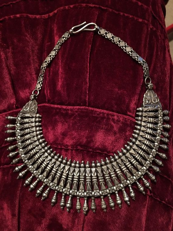 Rajasthani  necklace silver by TivahNiyahAdornments on Etsy