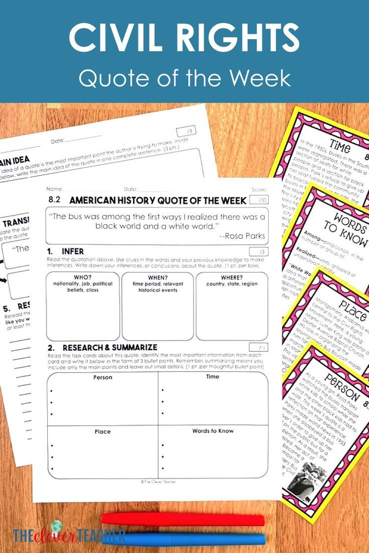 small resolution of Need a Civil Rights project for kids? US History quote of the week is a FUN  way to integrate read…   Literacy strategies